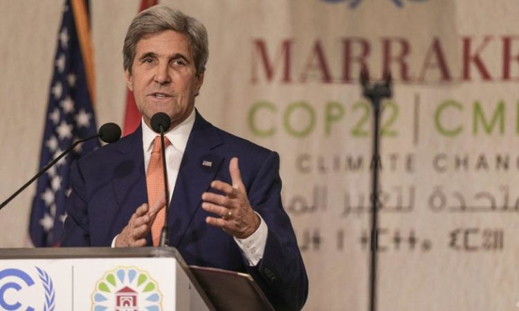 U.S. Secretary of State John Kerry addressed the United Nations twenty-second Conference of the Parties (COP) in Marrakech, Morocco
