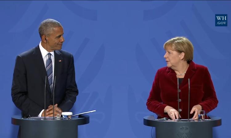 Prezydent Barack Obama oraz kanclerz Angela Merkel