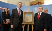 "Ambassador Paul Jones and Poland's Minister of Culture and National Heritage Piotr Gliński at ceremony marking the return to Poland of the stolen painting ""Street with Castle Ruins"""