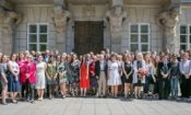 U.S. Fulbright fellows with Polish colleagues and sponsoring institutions in front of Tyszkiewicz-Potocki Palace in Warsaw (photo: Mariusz Kosiński)