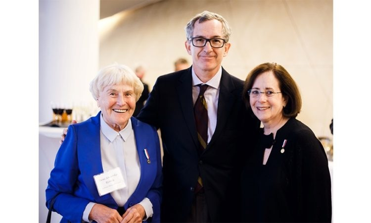 From left to right, Polish Righteous Irena Senderska-Rzonca, DCM Eric Green and Stanlee Stahl of the Jewish Foundation for the Righteous