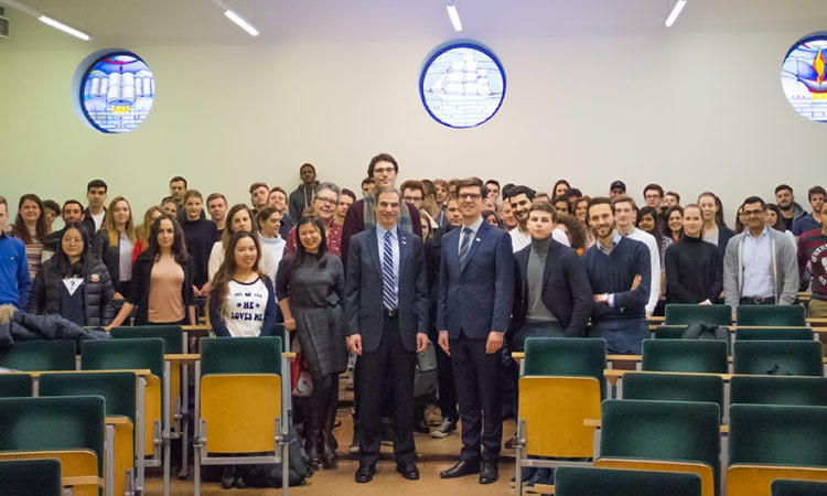 Ambassador Jones meets international students of business and management at Koźmiński University in Warsaw, Poland.